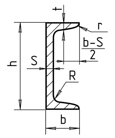 Горячекатаный швеллер 12 чертеж